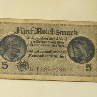 5 Марок Рейхсмарок 1939-45 рр Німеччина 5 Марок Рейхсмарок 1939-45 гг Германия