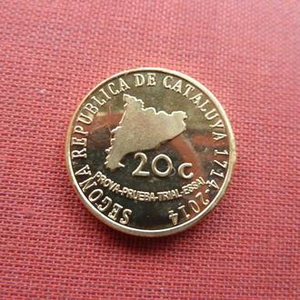 Каталония (Испания) 20 центов 2014г. редкий,UNC,исторические личности Каталонии