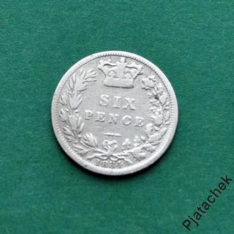 Великобритания 6 пенсов 1884 г Виктория серебро  №2