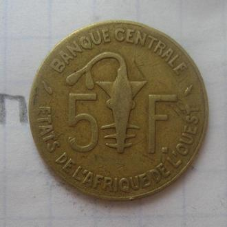 ЗАПАДНАЯ АФРИКА, 5 франков 1990 года.
