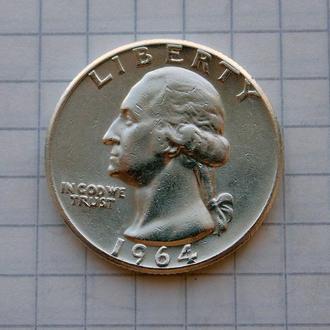 25 центов (Квотер) 1964 №1 США. Серебро, состояние.