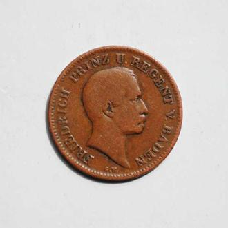 Баден 1 крейцер 1856 г., РЕДКАЯ, 'Король Фридрих І (1856-1907)'