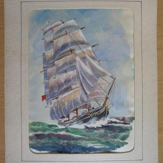 """Картина корабль парусник клипер """"Титания"""". Бумага / акварель. 2002.Оригинал 37см х 27см"""