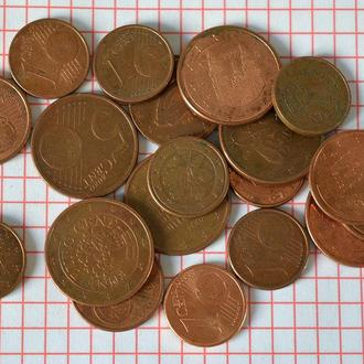 Набор евроцентов из оборота, всего 19 монет, без повторов