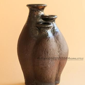 Ваза с тремя горловинами ЛКСФ Львов майолика, обливная керамика