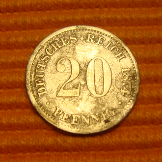 Германия 20 пфенниг - 1874 *серебро