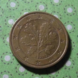 Евросоюз 2002 год монета 5 евро центов !