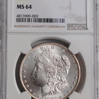 США 1 доллар 1881 г. S, NGC MS64, 'Доллар Моргана'