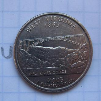 """США, 25 центов 2005 года (ЗАПАДНАЯ ВИРДЖИНИЯ) """"Р""""."""