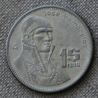 Мексика 1 песо 1986 г.