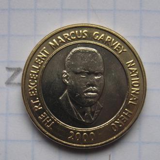 ЯМАЙКА. 20 долларов 2000 года (БИМЕТАЛЛ).