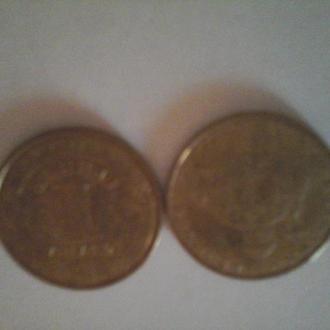 Монеты Украины 2010 года  2  штуки 1 гривна  Володимир  Великий