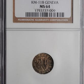 Женева 6 денье 1833 г., NGC NS64, 'Швейцарский Кантон (1814 - 1851)'