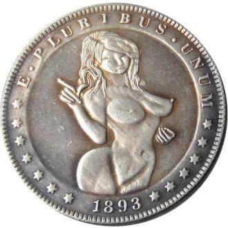 Dead coins, 1 доллар 1893, Экзонумия, Монета с Черепом, диаметр 40 мм тип - 93