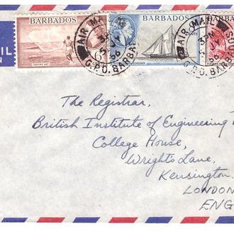 Барбадос  1956 г  - конверт  -  прошел почту - Барбадос / Лондон - АВИА