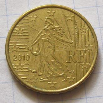 Франция_ 10 евро центов 2010 года  оригинал