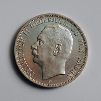 Баден 3 марки 1914 г., UNC, 'Великий герцог Фридрих ІІ (1907-1918)' ОЧЕНЬ РЕДКОЕ СОСТОЯНИЕ