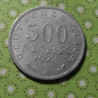 Германия 1923 год монета 500 марок A !