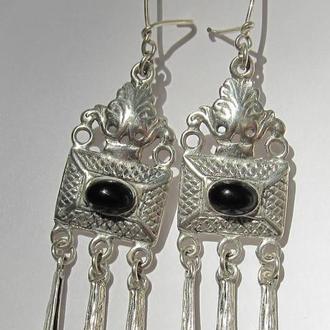 Серебряные серьги в византийском стиле