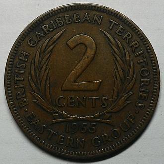 Восточные Карибы, 2 цента 1955 год  дм.  30,5 мм, вес 9,55 г
