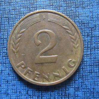 Монета 2 пфеннига ФРГ 1965 F