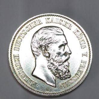 2 марки 1888 А, Германская империя, Фридрих, Unc, люкс, серебро оригинал!