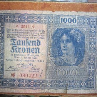 АВСТРИЯ 1000 крон 1922 год