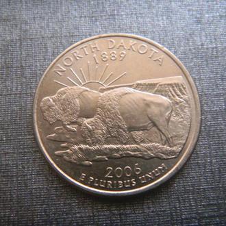 США 25 центов Северная Дакота D 2006 (RL101)