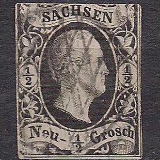 Немецкие земли, Sachsen, 1851 г., первые марки, марка № 3а