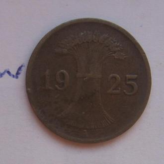 """ГЕРМАНИЯ. 1 рейсхпфенниг 1925 года """"A""""."""