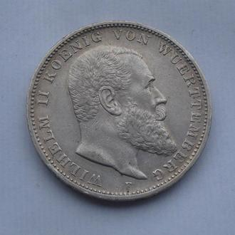 1909 г - 3 марки Германии,Вюртемберг,серебро № 3