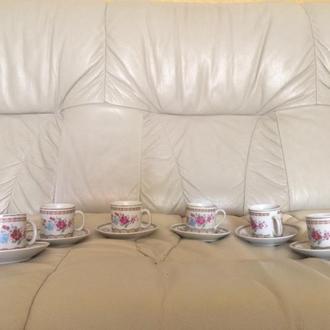 Сервиз, набор чашек и блюдец под кофе (на 6 человек) времени СССР