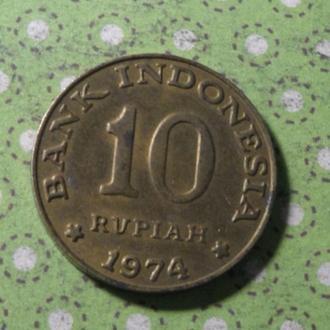 Индонезия 1974 год монета 10 рупий !