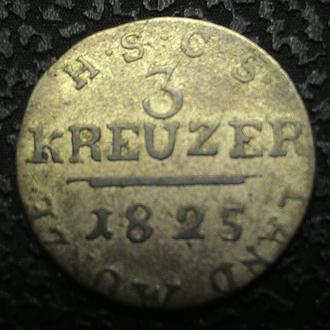 Саксен-Кобург-Заальфельд 3 крейцера 1825 год СЕРЕБРО!!!! РЕДКАЯ!!!
