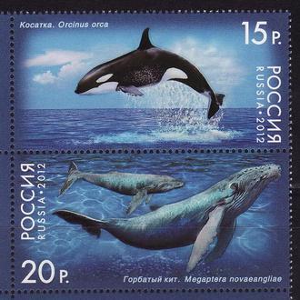 Россия 2012 Морская фауна Киты 2 марки сцепка