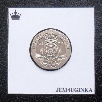 Великобритания. 20 пенсов 2006 г.  XF +