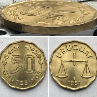Уругвай 50 сентесимо, 1981г. Период  Новый песо (1975 - 1993) / Алюминиевая бронза
