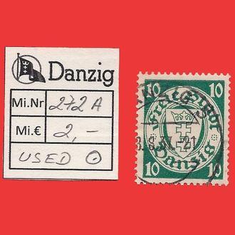 ✠ DANZIG Mi.272 Used ✠ 1937 ✠Данциг ✠Гданьск ✠  Герб ✠