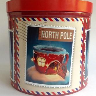 Коробка из-под кекса Рождественская.  Металл, жесть.