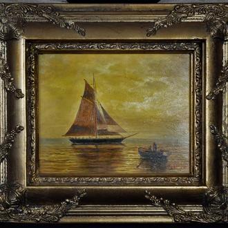 Голландия картина парусник корабль море масло дерево
