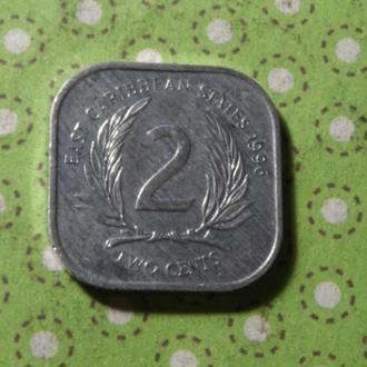 Карибские острова 1996 год монета 2 цента Карибы !