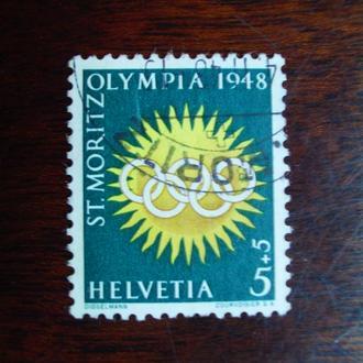 Швейцария.1948г. Зимние олимпийские игры. Символ олимпиады.