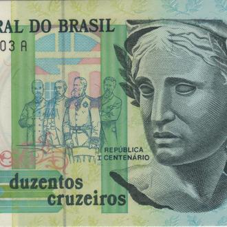 Бразилия 200 крузейро 1990г. в UNC из пачки