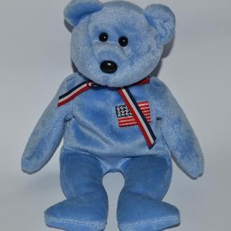 мягкая игрушка коллекционный  мишка ty america 2001 год  винтаж