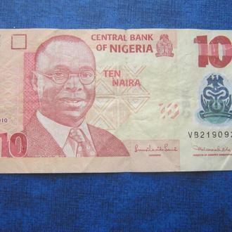 банкнота 10 найра Нигерия 2010 пластик №2