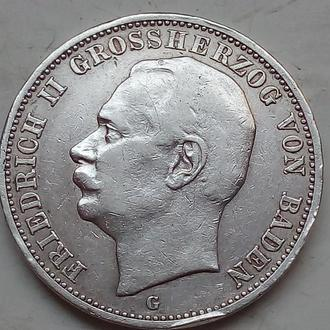 Германия .Баден .3 марки (mark) 1912 года G .Фридрих II.Оригинал
