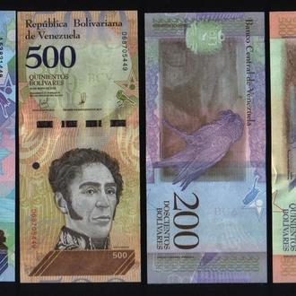 Венесуэла  8 банкнот - 2-5-10-20-50-100-200-500 Боливаров, в идеальном сохране