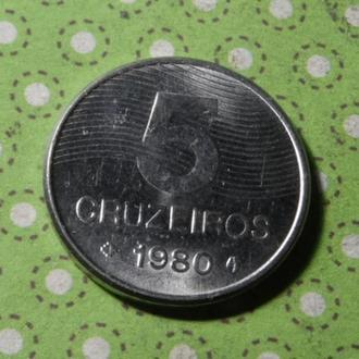Бразилия 1980 год монета 5 крузейро !