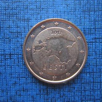 монета 1 евроцент Эстония 2017