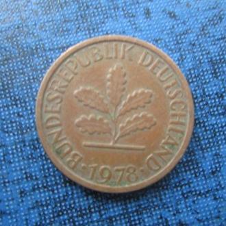 монета 1 пфенниг 1978 G
